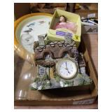 Clocks, Porcelain doll & oil lamp globe ( CHIMNEY)