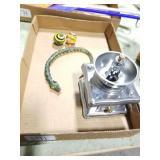 Marbles, wood snake & coffee grinder
