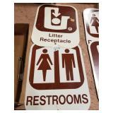 Litter receptacle & restroom sign