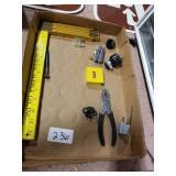 Wood Folding Ruler, Pliers, & misc