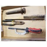 Hacksaw, wire brush & pliers