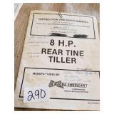 8HP rear tine tiller manual