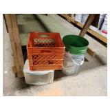 Plastic crates & 5 gallon bucket