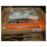 Caulking gun, screwdriver, & gloves