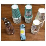 Paper Cups, Lotion Dispenser, Small Towel