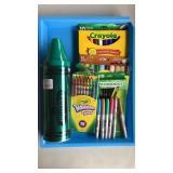 Crayons, Bank, Sharpies, Pencil Lot
