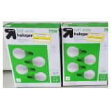 Up & Up Soft White Halogen 53w=75w 4 Pack Lot of 2