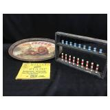 Dr Pepper tray, Abacus and stamp book