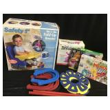 Booster seat, kids horseshoes, puzzle and games