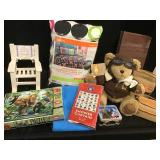 Bear, rocking chair, comforter, puzzle and more