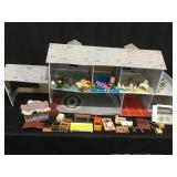 Tin dollhouse and furniture