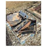 Pallet of Tractor Weights and Mounting Bracket