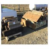 Lot of Wooden Blocks and Iron Bin
