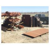 Lot of Iron Auger Blades and Sheet Iron