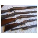 36 cal.  Hex barrel Kentucky style long rifle muzzle loader,  Double barrel muzzle loader 12 ga.