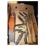 BOX OF KNIVES AND TOOLS