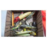 BOX OF WOODEN LURES