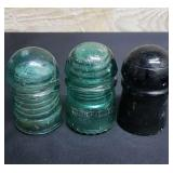 3 Insulators - one is stamped Brookfield
