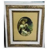 Vintage frame and girl with kittens.