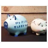 2 new piggy banks.  My first piggy bank and