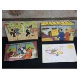 Vintage comic style post cards. Condition is
