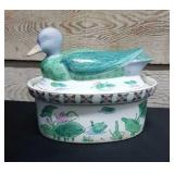 Ceramic duck cookie Jar or lid bowl. hand painted?