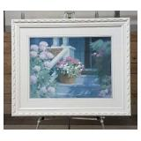 Flower porch scene picture in white frame