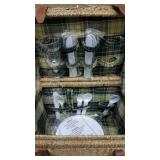 Lined wicker Picnic Basket with 4 piece setting