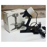 Reading spot lamp with clamp.  Spectro