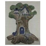Cityscape stone wall sculpture (Fairy door in tree