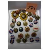 27 Vintage Political Buttons (1940)