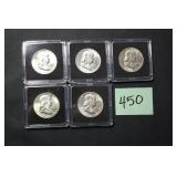 5 Franklin Half Dollar Coins