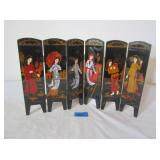 Chinese Black Lacquer Hand Painted Folding Screens