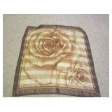 Brown Scarf With Rose Design