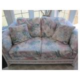 Floral Pastel Cushioned Settee White Wicker Frame