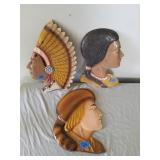 2 Aluminum Indian Heads & Other Head Wall Decor