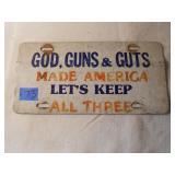 Vintage God, Guns, & Guts License Plate
