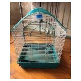 Green & White Metal Bird Cage