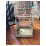 Metal Bird Cage With Wood Perches, Toys & Feeders