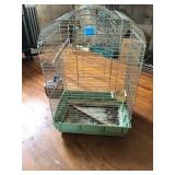 Metal Bird Cage With Wood Perches & Feeder