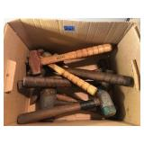 Box of Hammers, Mallets, & Vintage Mini Sledge