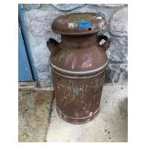 Vintage Galvanized Metal Milk Can (Rusty)