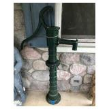 "Vintage Green Painted Water Pump (53""H)"