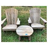 Pair of Wood Adirondack Chairs & Table