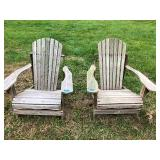 Pair of Wood Adirondack Chairs