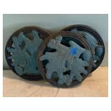 3 Cast Iron Garden Stepping Stones 12""