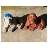 2 Concrete Dog Yard Ornaments