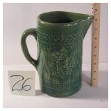 Antique Yellow ware Green Glazed Milk Pitcher