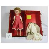 Vintage 1950s Red Doll Trunk with doll