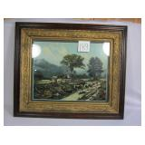 Vintage Framed Painting - Going to Pasture